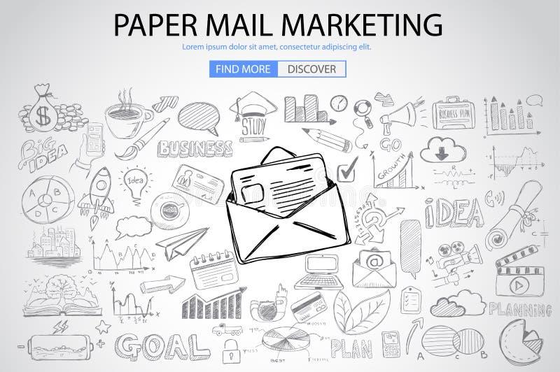 Papierowy emaila marketing z Doodle projekta stylem ilustracja wektor