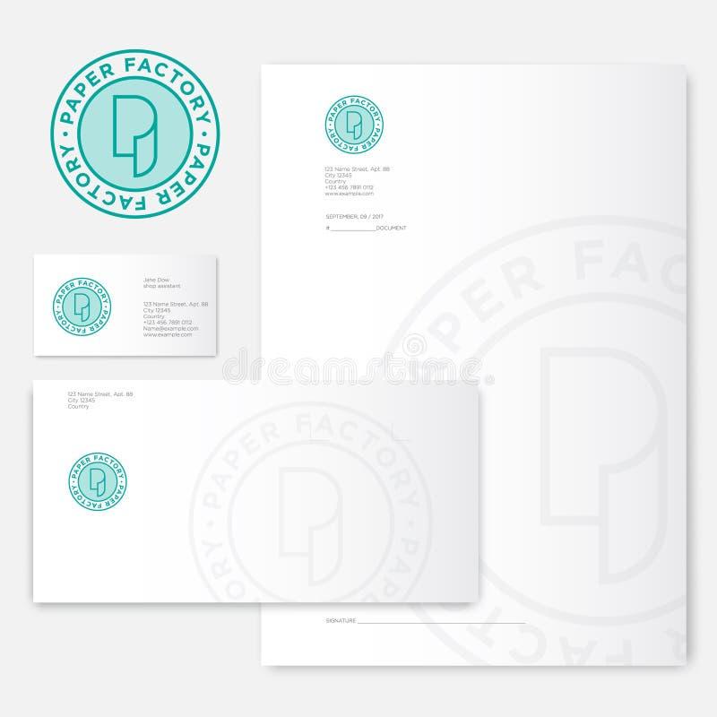 Papierowy fabryczny logo P monogram Rolka papier tożsamość i logo Koperta, letterhead, list i wizytówki, ilustracji