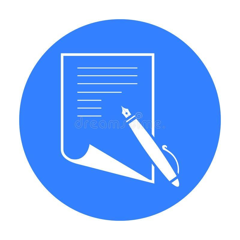 Papierowy i pióro ikony czerń Pojedyncza edukaci ikona od dużej szkoły, uniwersyteta czerń ilustracja wektor