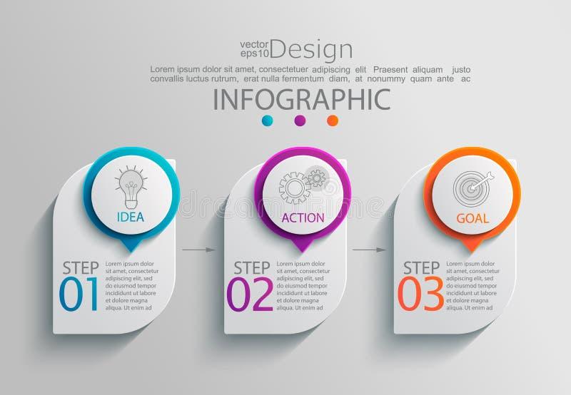 Papierowy infographic szablon z 3 opcjami ilustracji