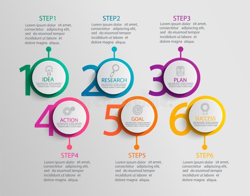 Papierowy infographic szablon z sześć okrąg opcjami royalty ilustracja