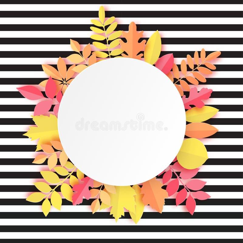 Papierowy jesień klon, dąb i inna liść round rama, royalty ilustracja