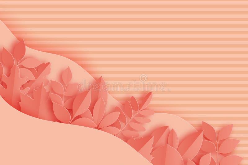 Papierowy jesień klon, dąb i inny, opuszczamy pastel barwiącego i machamy ilustracja wektor