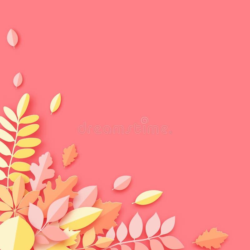 Papierowy jesień klon, dąb i inny, opuszczamy pastel barwiącego tło ilustracji