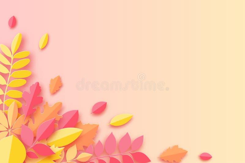 Papierowy jesień klon, dąb i inny, opuszczamy pastel barwiącego tło royalty ilustracja