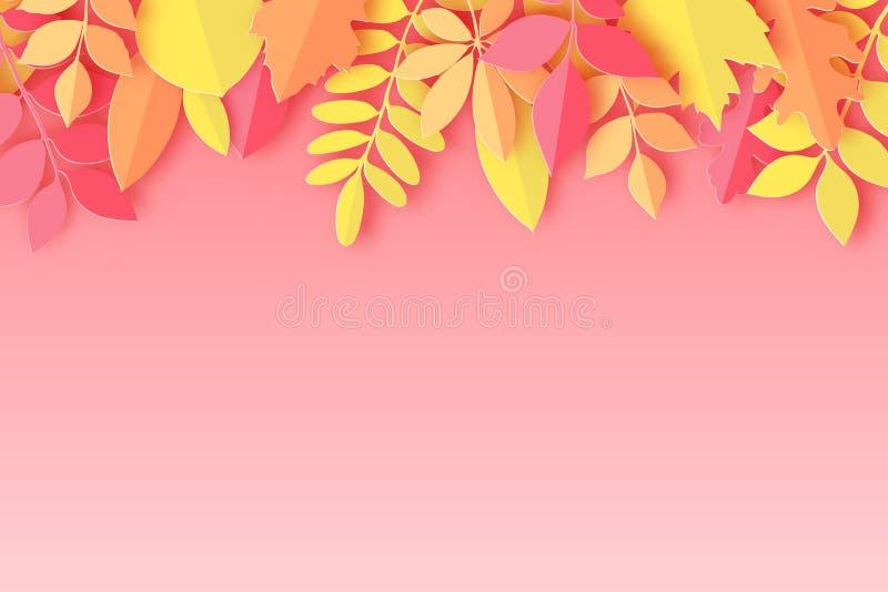Papierowy jesień klon, dąb i inny, opuszczamy pastel barwiącego tło ilustracja wektor