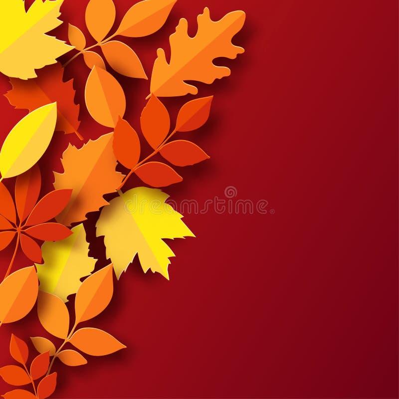 Papierowy jesień liści kolorowy tło Modnego 3d papieru rżnięty stye royalty ilustracja