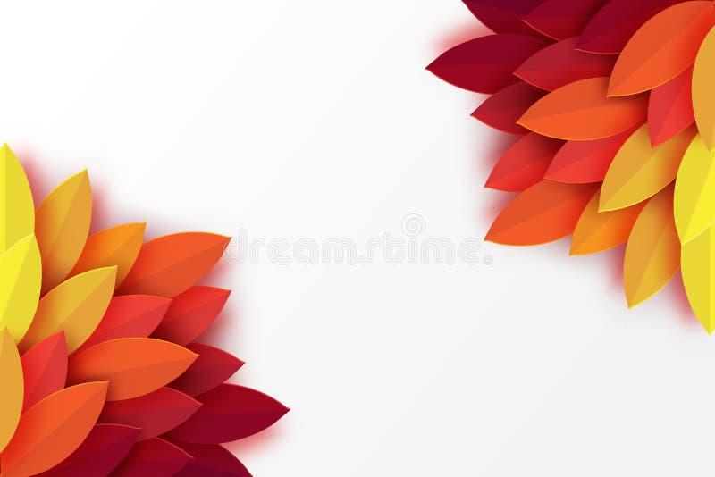Papierowy jesień liści kolorowy tło Modny origami papieru cięcie ilustracja wektor