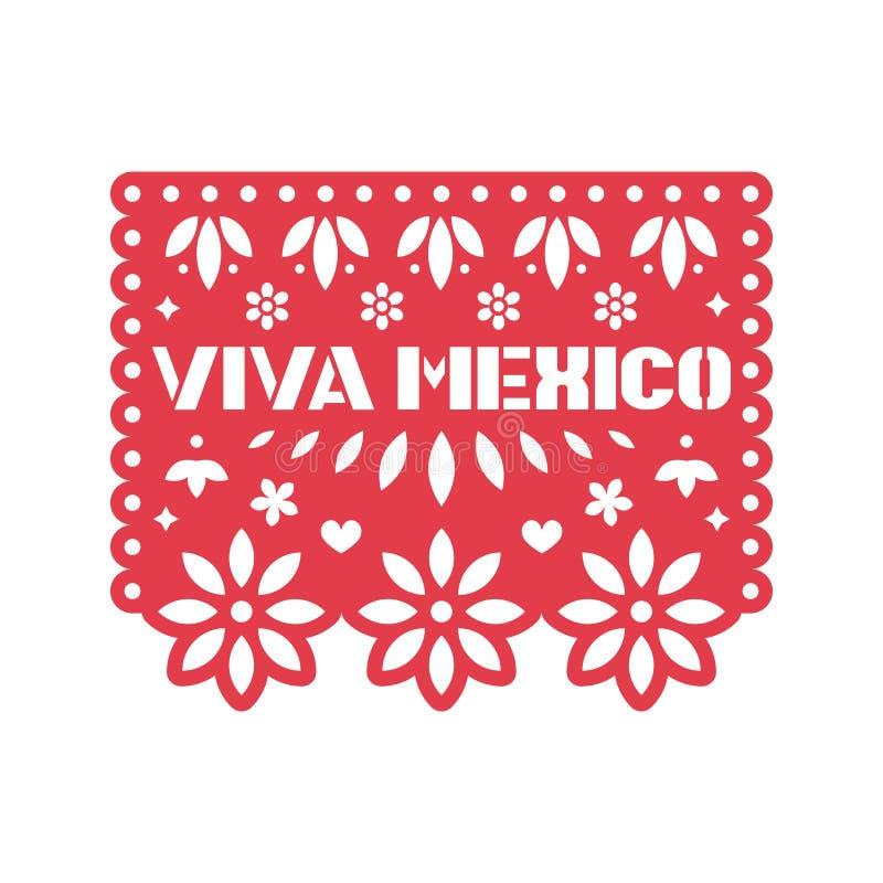 Papierowy kartka z pozdrowieniami z cięcia out kwiatami, geometrycznymi kształtami Viva Meksyk i tekstem, Papel picado ilustracja wektor