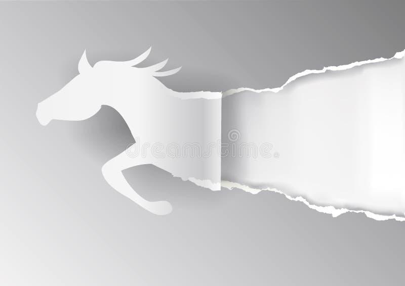 Papierowy koń, rozdzierający popielaty papierowy tło ilustracja wektor