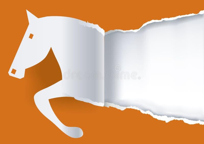 Papierowy koński wdechowy papierowy tło ilustracja wektor