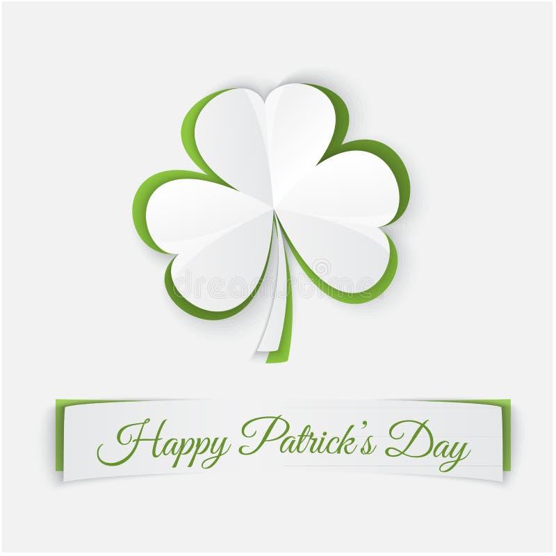 Papierowy koniczyna liści wzór Wektorowy tło dla St Patricks dnia royalty ilustracja