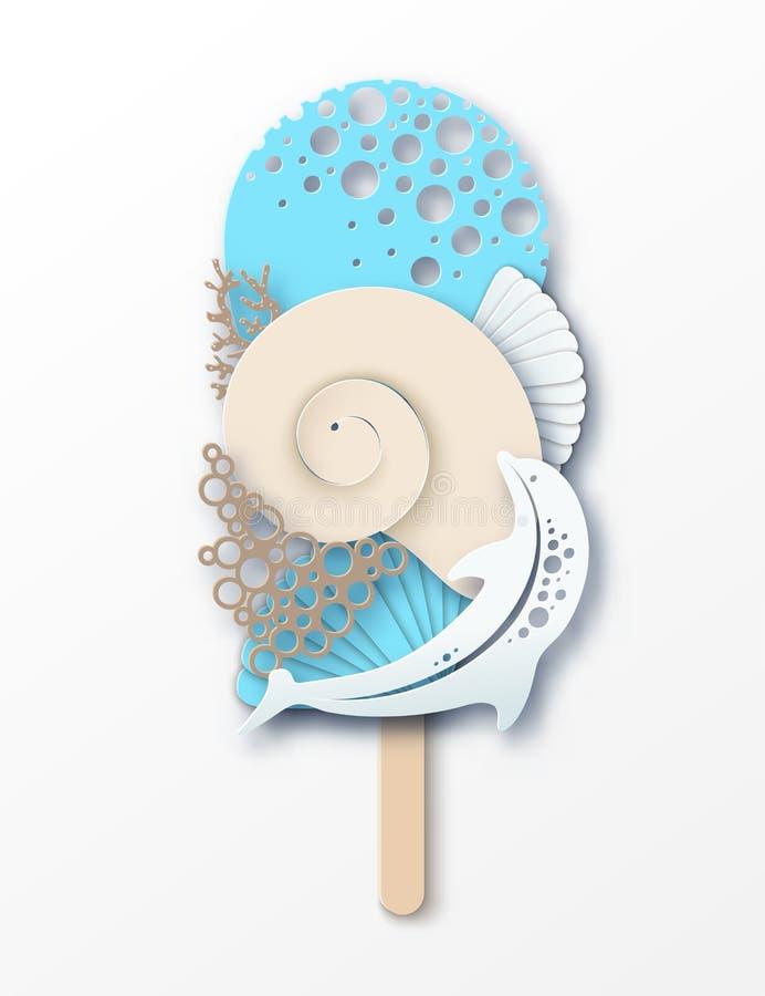 Papierowy lody robić delfin, morze fala, koral i denna skorupa, royalty ilustracja
