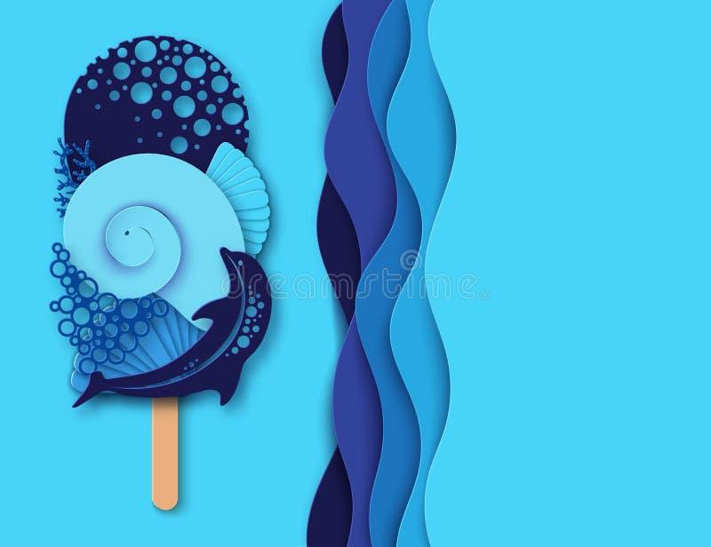 Papierowy lody robić delfin, morze fala, koral i denna skorupa, ilustracji