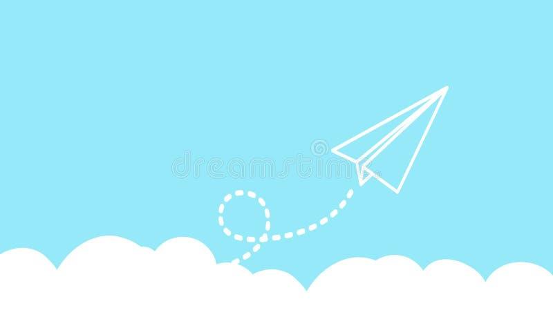 Papierowy lotniczy latanie na blye nieba tle obraz royalty free