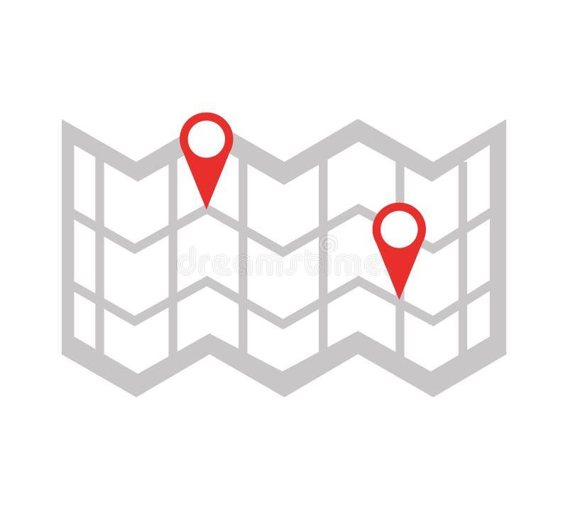 Papierowy mapa przewdonik z wałkową lokacją royalty ilustracja