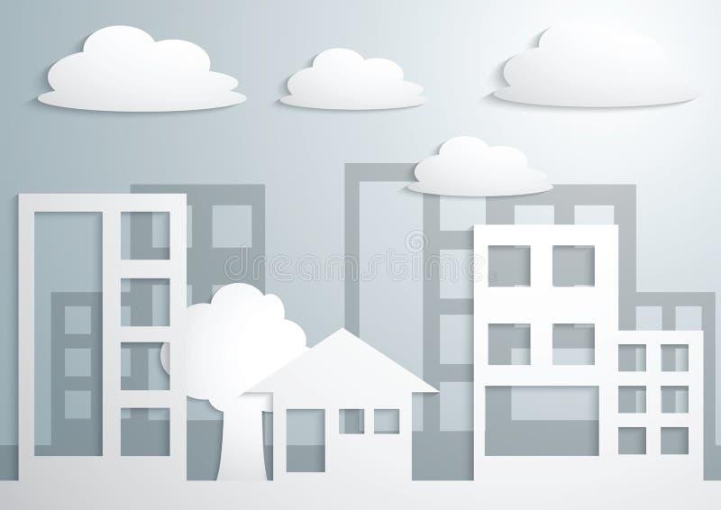 Papierowy miasteczko i budynki ilustracja wektor