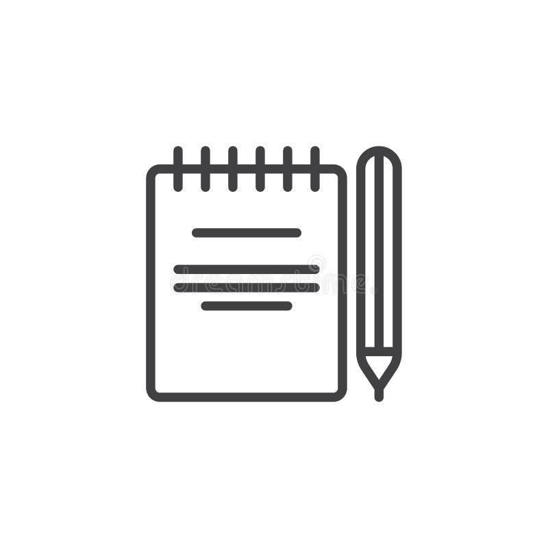 Papierowy notepad z ołówkową kontur ikoną ilustracja wektor