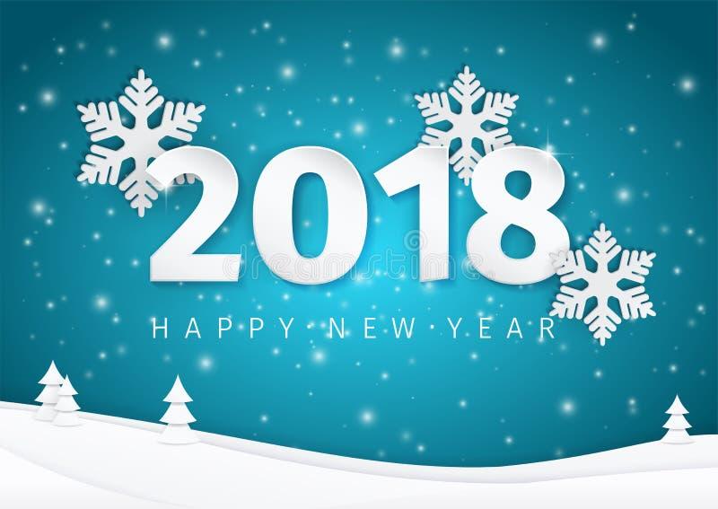 Papierowy nowego roku teksta 2018 projekt z 3d płatkami śniegu na jaśnienia błękita krajobrazu głębokim tle z choinkami royalty ilustracja