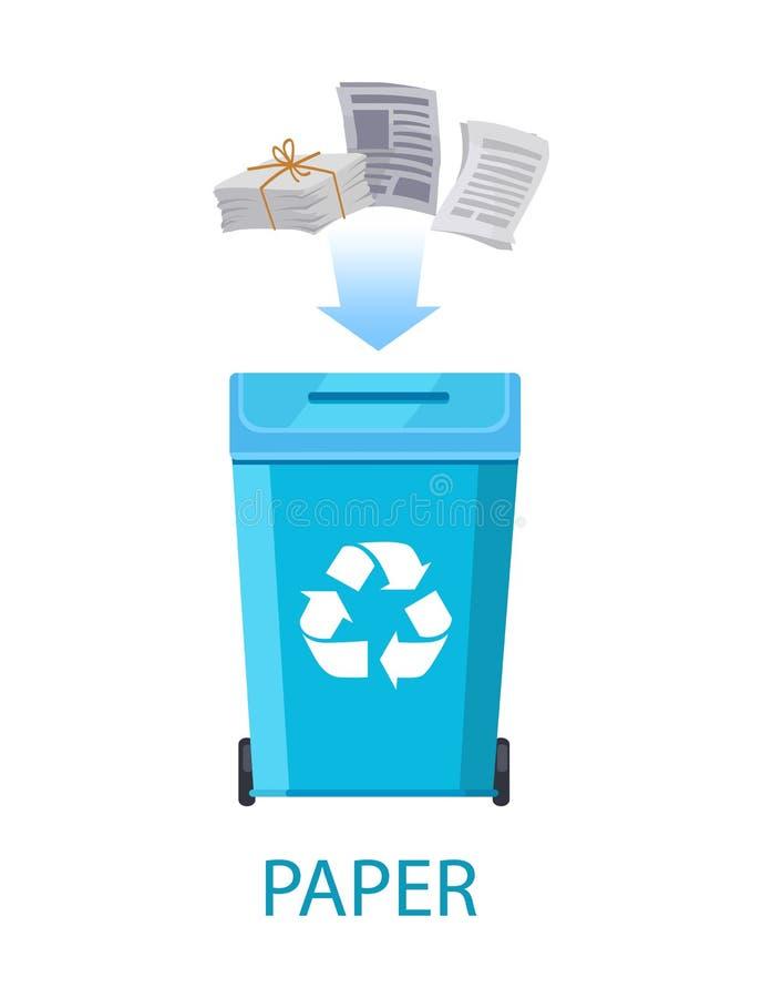 Papierowy odpady z zbiornika wektoru ilustracją ilustracji