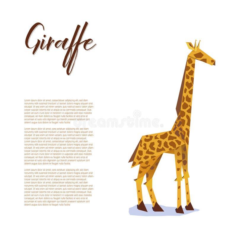 Papierowy origami żyrafy plakat royalty ilustracja
