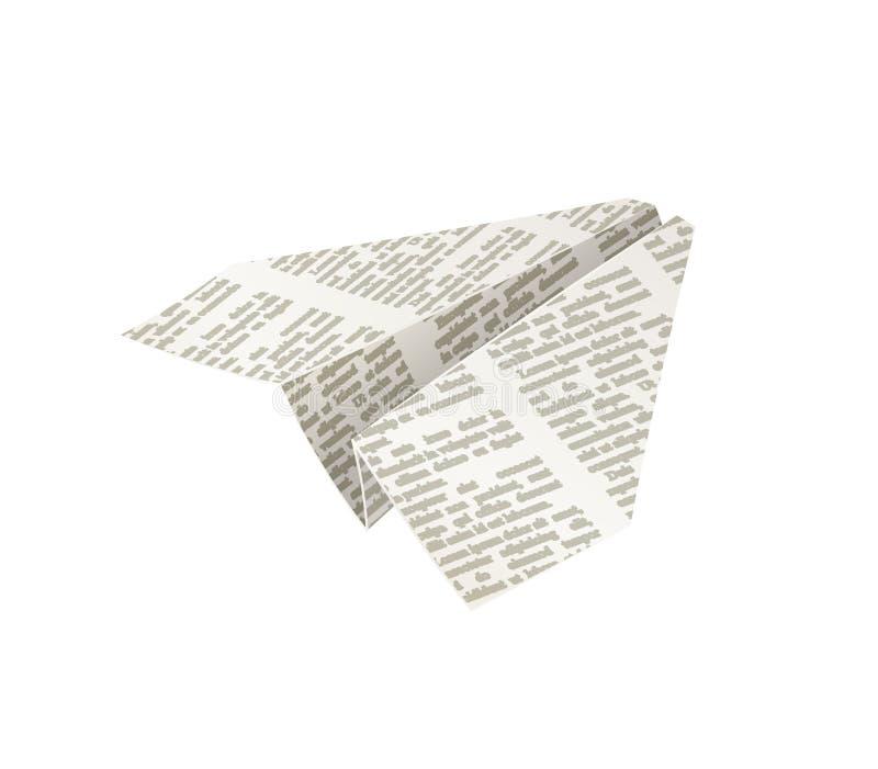 Papierowy origami samolot Gazetowy rękodzieło royalty ilustracja