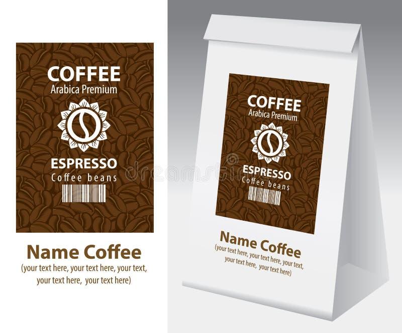 Papierowy pakować z etykietką dla kawowej fasoli ilustracji