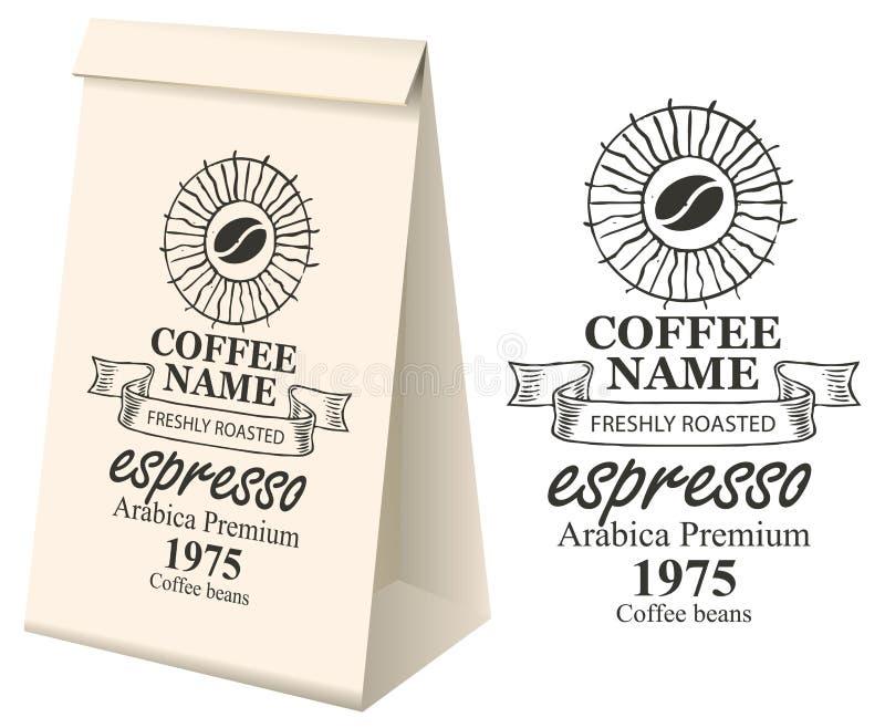 Papierowy pakować z etykietką dla kawowych fasoli royalty ilustracja