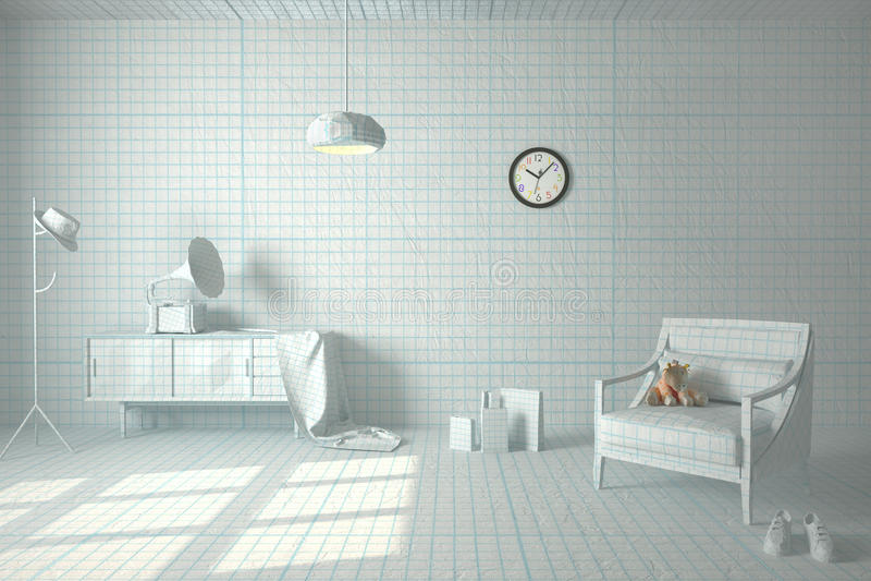 Papierowy pokój obraz stock