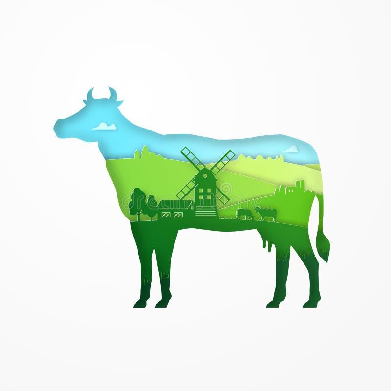 Papierowy projekt eco gospodarstwa rolnego krowa dla kartonu pakunku Papierowa sztuka zielona łąka i croplands wśrodku sylwetki k royalty ilustracja