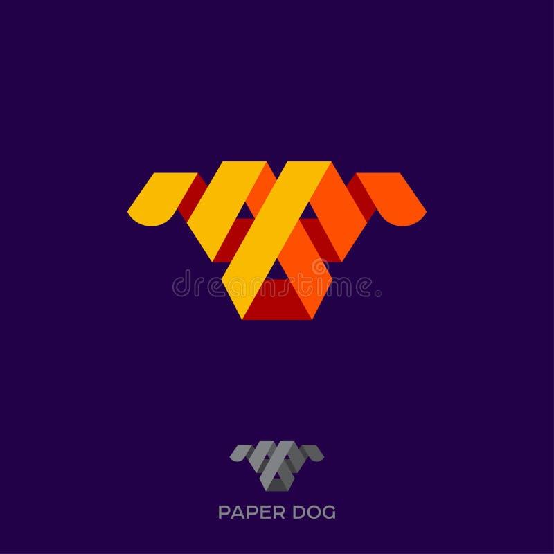Papierowy Psi logo Twarz pies Od kolorów faborków lub paski papier Origami psa ikona Migdali emblemat ilustracja wektor