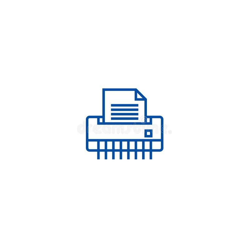 Papierowy rozdrabniacz, biurowej drukarki linii ikony pojęcie Papierowy rozdrabniacz, biurowej drukarki płaski wektorowy symbol,  ilustracja wektor
