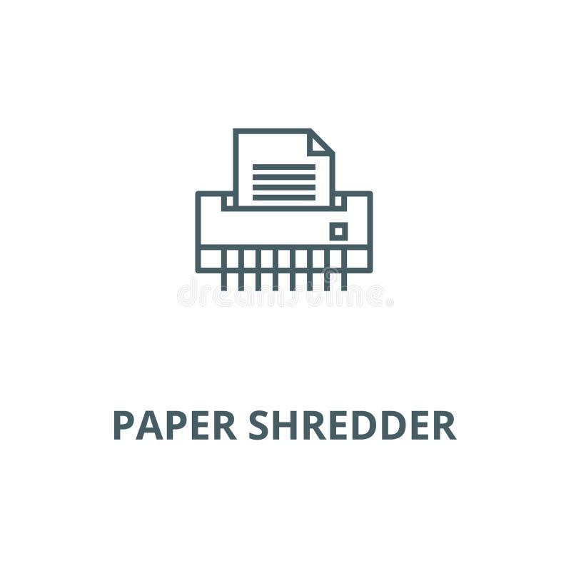 Papierowy rozdrabniacz, biurowej drukarki wektoru linii ikona, liniowy pojęcie, konturu znak, symbol royalty ilustracja