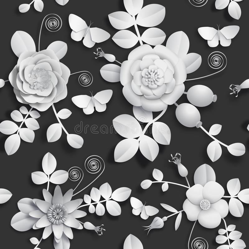 Papierowy rzemiosło 3D dziki wzrastał kwiaty, rosehip jagody i motyliego bezszwowego wzór, Wektorowy ilustracja zapasu wizerunek royalty ilustracja