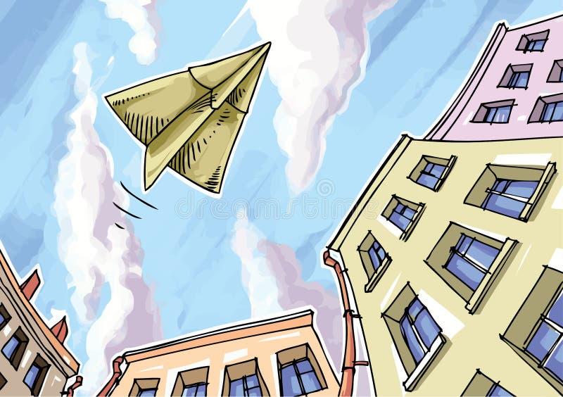 papierowy samolot ilustracja wektor