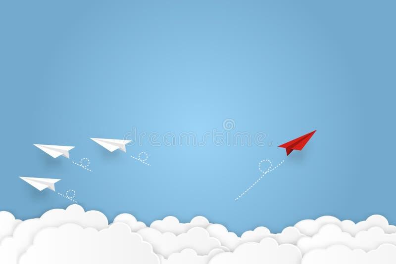 Papierowy samolot iść sukces przywódctwo, kreatywnie pomysłu symbolu papieru sztuki styl bramkowy wektorowy biznesowy pieniężny p obraz stock