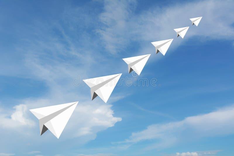 Papierowy samolot jako lider wśród innego samolotu royalty ilustracja