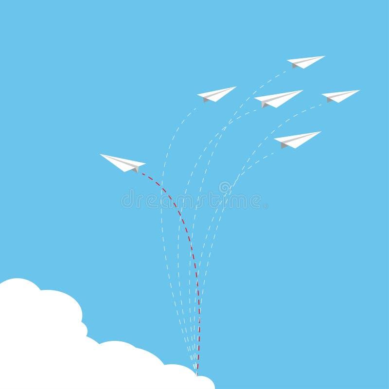 Papierowy samolot jako lider wśród innego samolotu, przywódctwo, royalty ilustracja