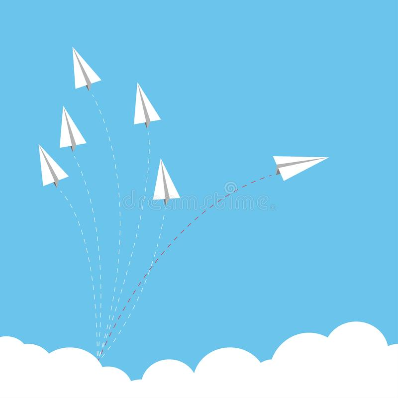 Papierowy samolot jako lider wśród innego samolotu, przywódctwo, ilustracji