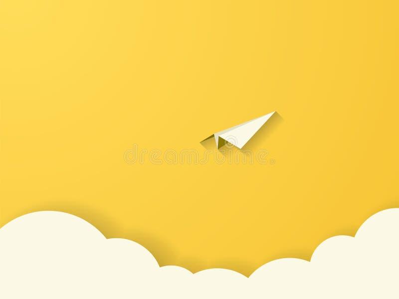 Papierowy samolot nad chmura wektoru pojęcie Papier ablegruje wycinanka wektoru styl Symbol wolność, przygoda, podróż, misja ilustracja wektor