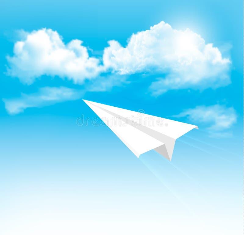 Papierowy samolot w niebie z chmurami. ilustracja wektor