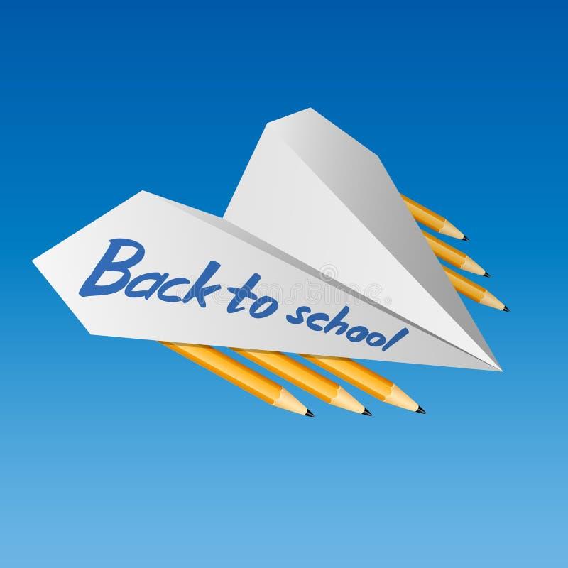 Papierowy samolot Z powrotem z ołówkami i słowa szkoła (1) ceremonia kwitnie uczni Wrzesień niebieski obraz nieba tęczową chmura  royalty ilustracja