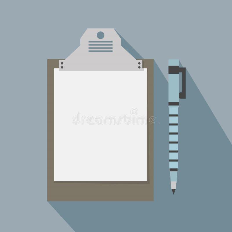 Papierowy schowek i pióro ikona z długim cieniem royalty ilustracja