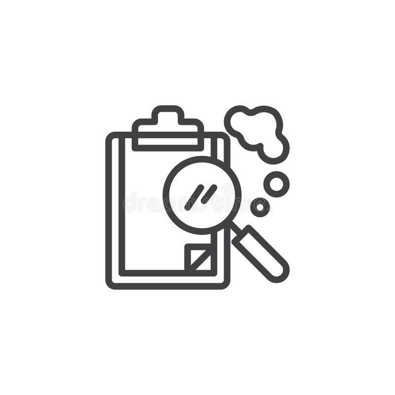Papierowy schowek i powiększać - szklana kontur ikona ilustracja wektor