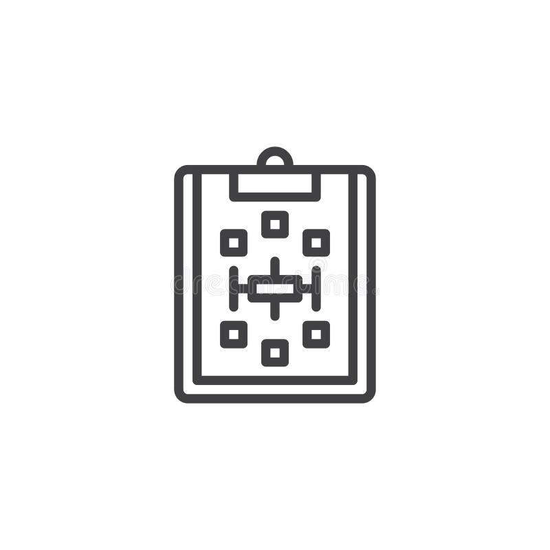 Papierowy schowek z planu konturu ikoną royalty ilustracja