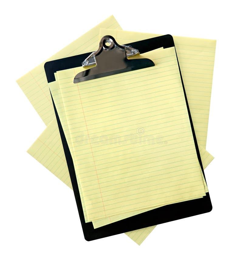 papierowy schowka kolor żółty obraz stock