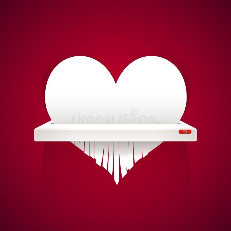 Papierowy serce Ciie w rozdrabniacz ilustracja wektor