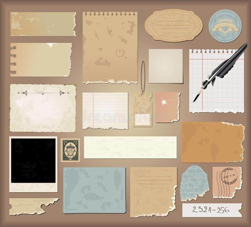 papierowy setu wektoru rocznik ilustracja wektor