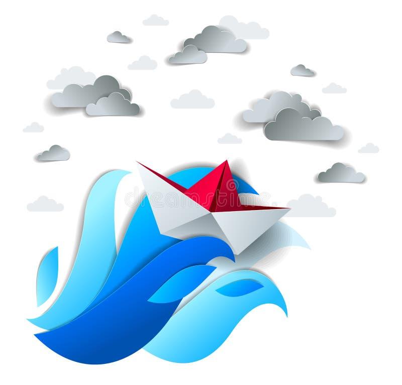 Papierowy statku dopłynięcie w dużych morze falach, origami składająca zabawkarska łódź walczy dla przetrwania w oceanie w pogodz royalty ilustracja