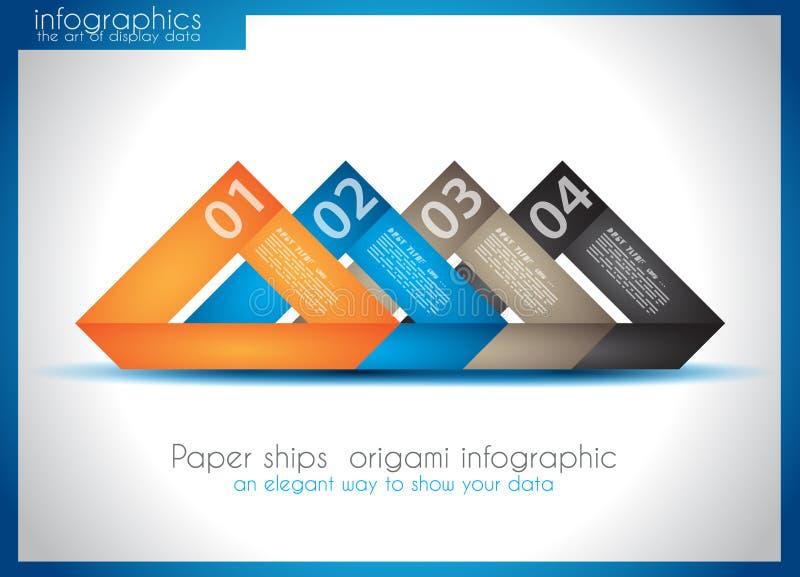 Papierowy statku origami infographics ilustracji